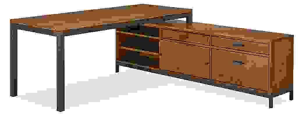Combination of Linear right-file drawer bench underneath Parsons desk in L-shaped configuration