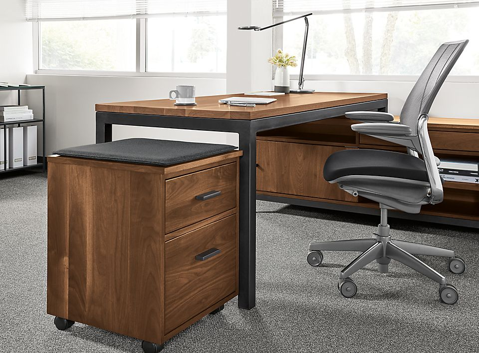 Detail of Linear rolling file cabinet with cushion