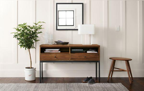 linear console table in walnut room board rh roomandboard com room and board portica console table room and board slim console table