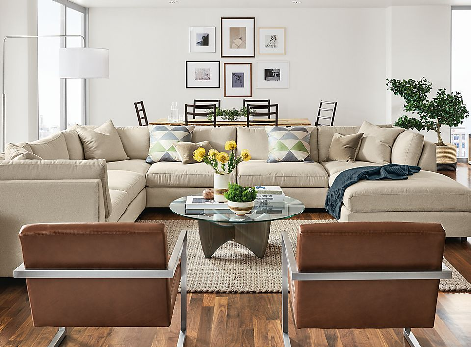 Linger Sectional in Boyer Fabric Living Room - Room & Board