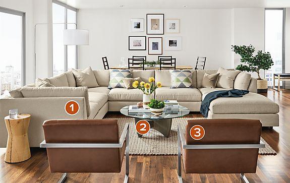 Linger Sectional in Boyer Fabric Living Room - Modern Living Room ...
