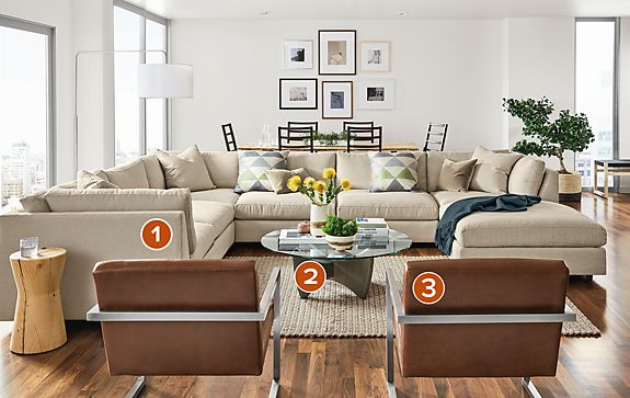 Linger Sectional in Boyer Fabric Living Room