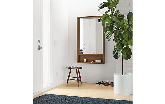 Loft Mirror with Shelf and Stewart Stool Entryway