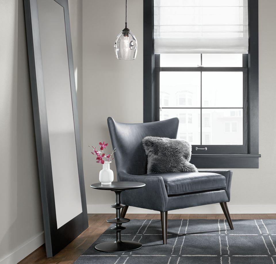 Detail of Lola accent chair in living room
