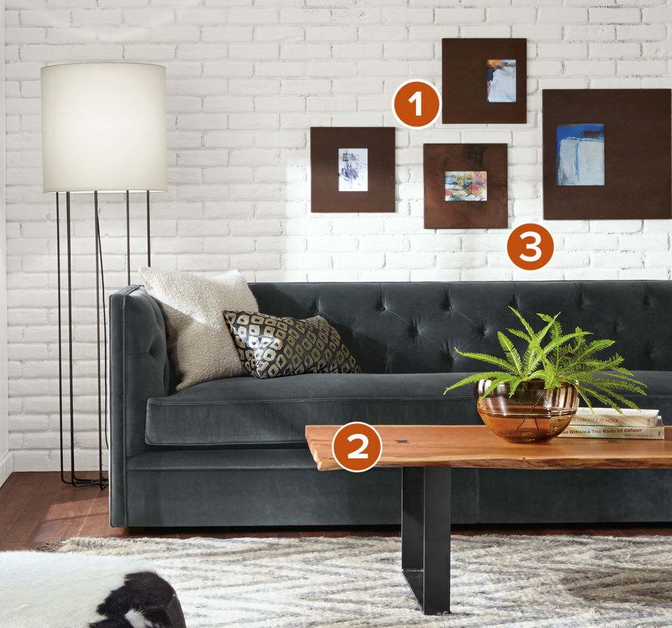 Detail of Macalester 90-inch sofa in vance charcoal