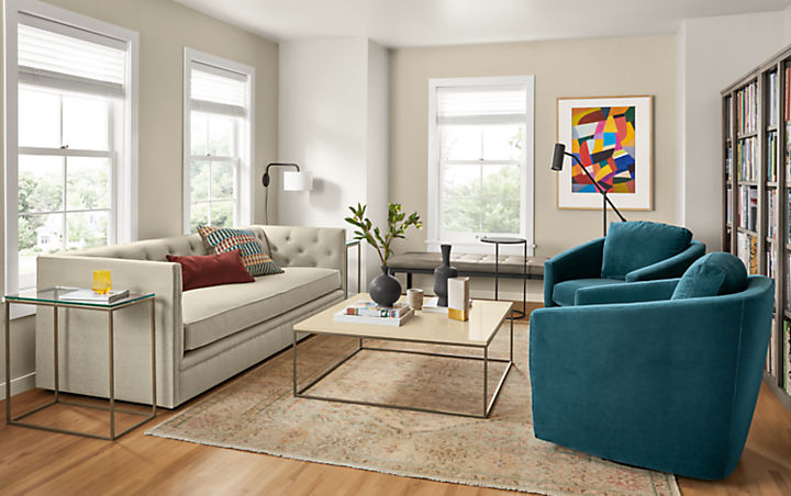 Linen Macalester sofa in living room