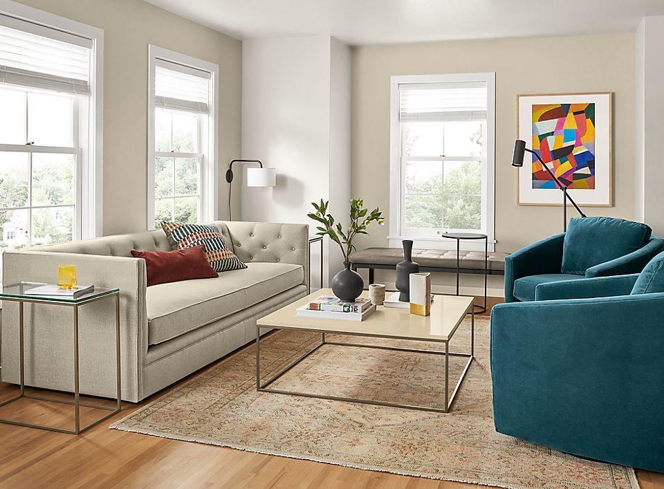 Linen Macalester sofa in living room
