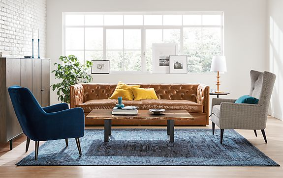 Macalester Leather Sofa Living Room - Modern Living Room Furniture ...