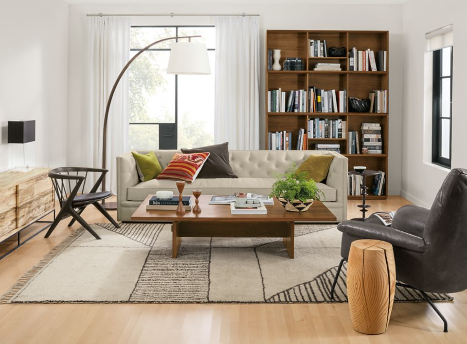 Macalester linen sofa in transitional living room