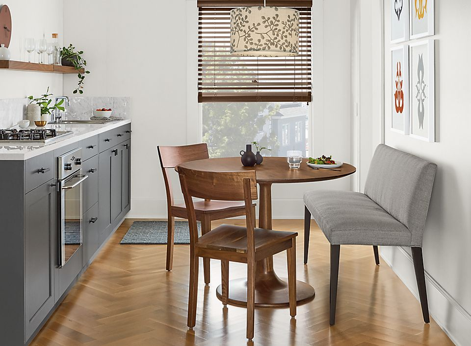 Detail of Madison table in small kitchen