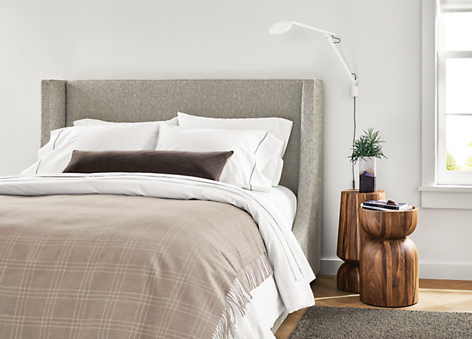 Detail of Marlo queen storage bed in Tepic Cement fabric