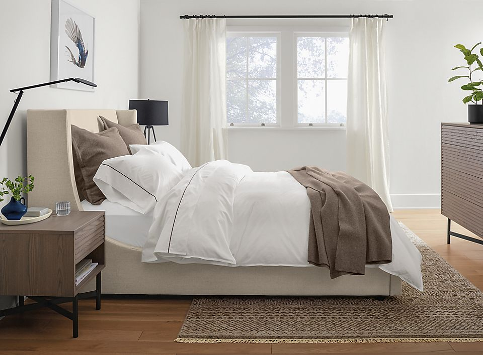 Side profile of Marlo queen storage bed