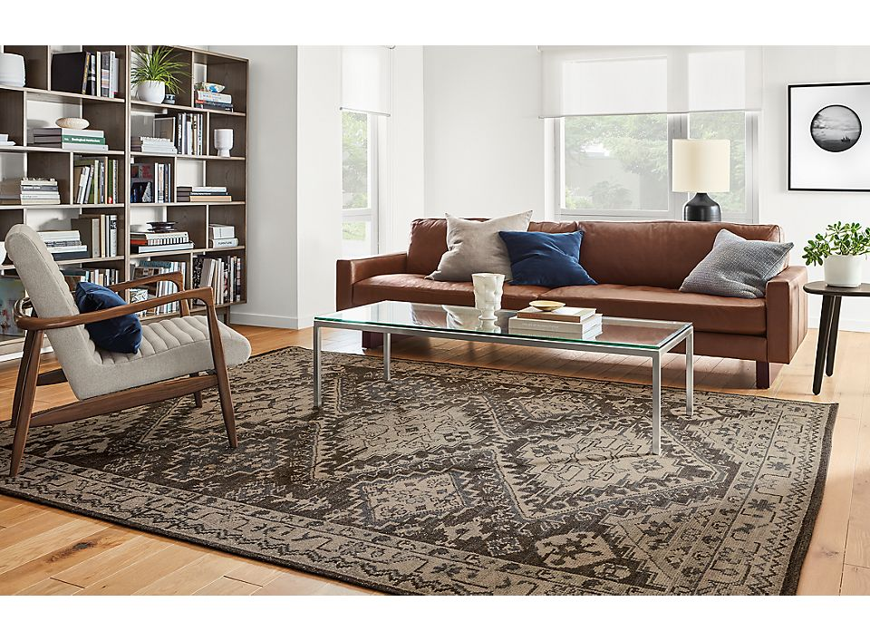 Hess Leather Sofa With Marquise Rug