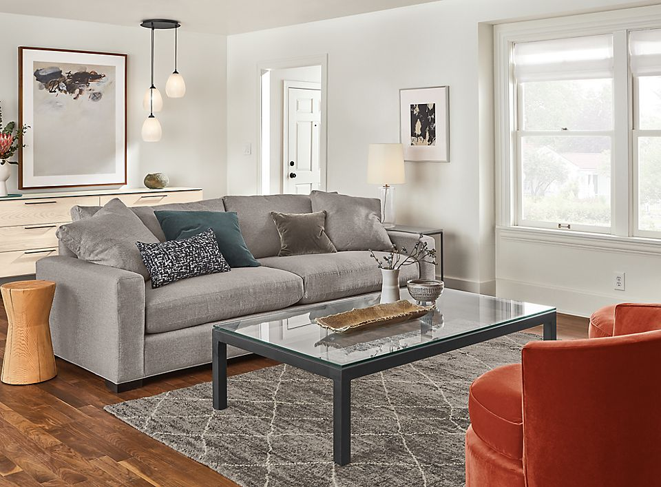 Detail of Mayer 6-piece sectional in ash