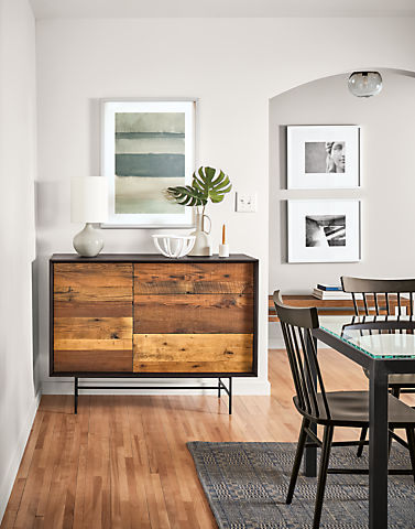 Dining room with McKean storage cabinet in reclaimed pine