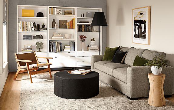 Metro Sofa with Copenhagen Bookcases