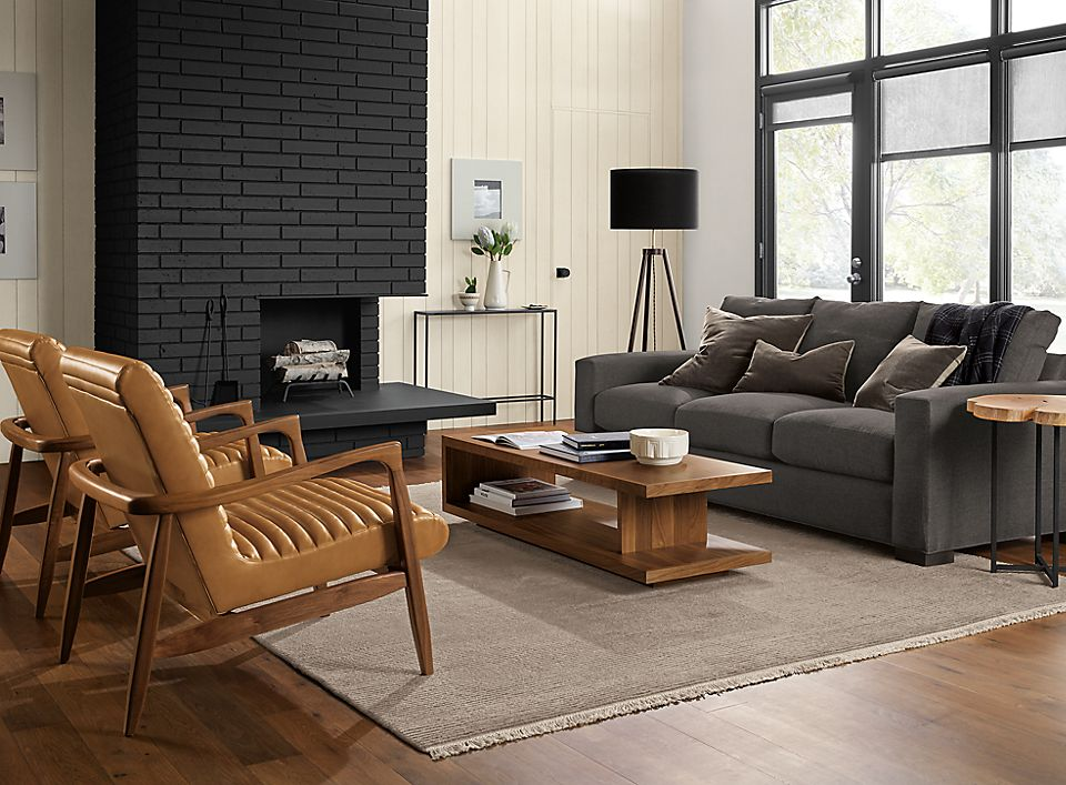 Detail of moody modern living room