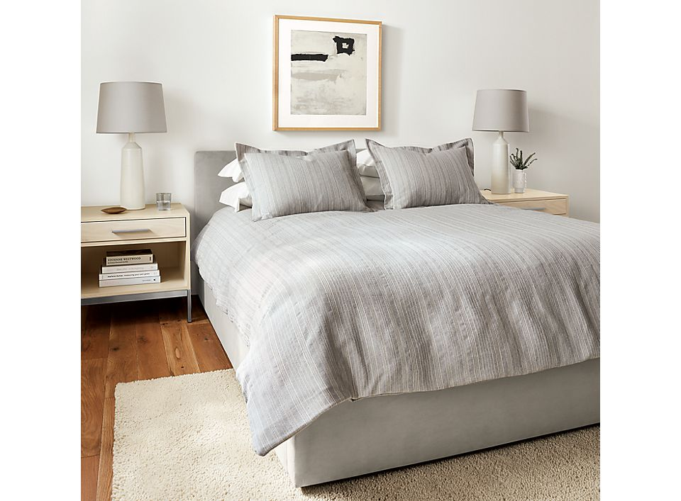 Detail of Milley duvet and shams in grey