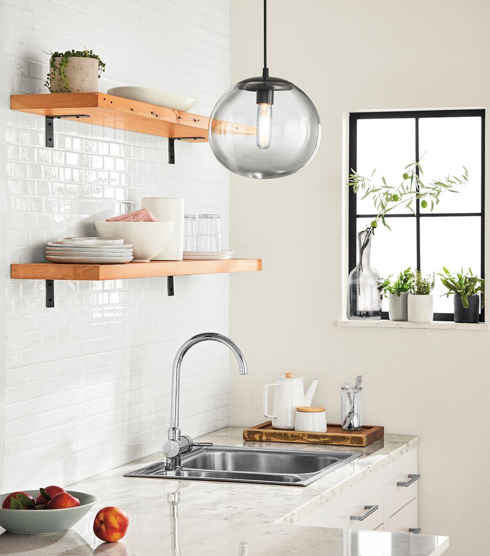 Side detail of Milton reclaimed shelves in kitchen