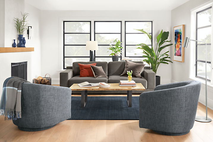 Detail of Mira sofa in Banks Charcoal velvet in small living room