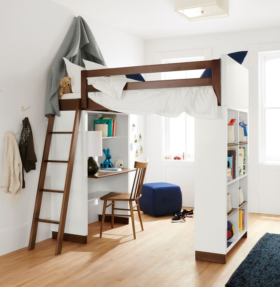 Detail of Moda loft bed with desk and bookcase