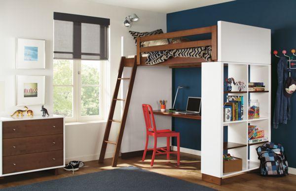 Moda Kids Loft With Shelves Modern Bunk Beds Furniture Room Board