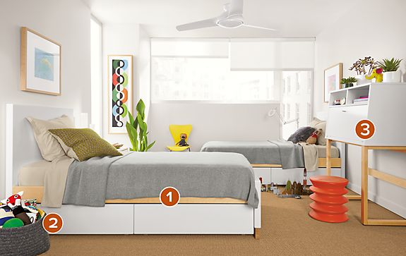Moda Twin Beds and Office Armoire - Modern Kids Furniture - Room ...