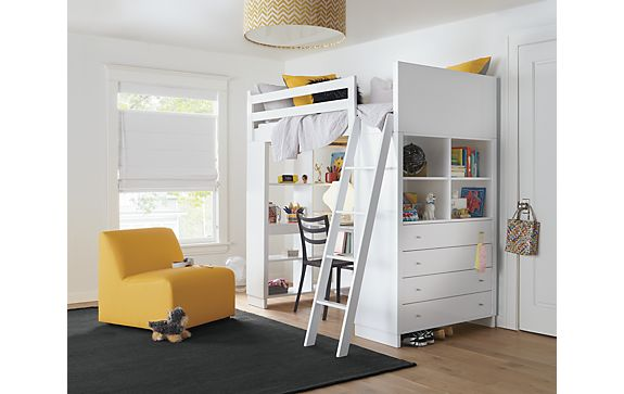 moda loft bed with desk dresser modern kids furniture room board. Black Bedroom Furniture Sets. Home Design Ideas