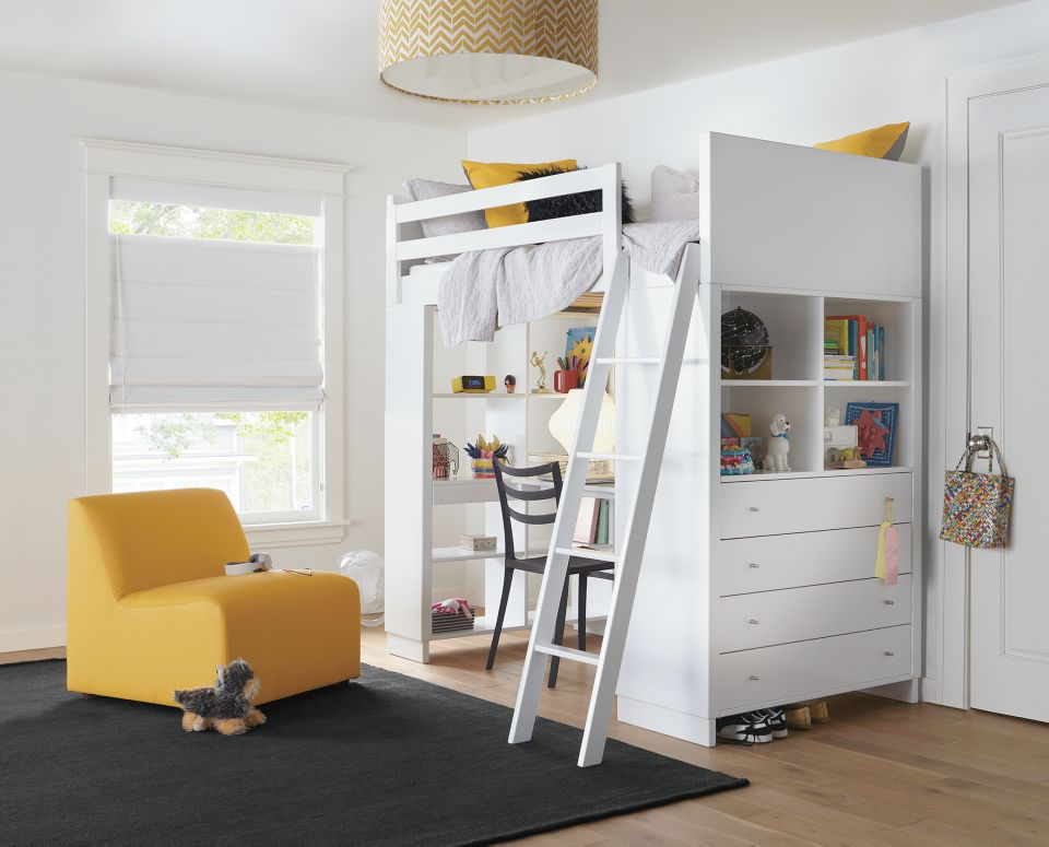 Detail of Moda loft bed with desk