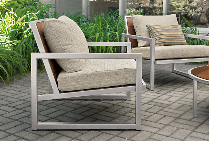 Detail of Montego outdoor lounge chairs in Phipps fabric