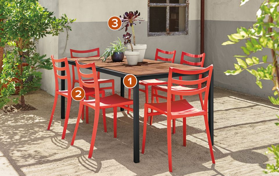Montego table with six red chairs