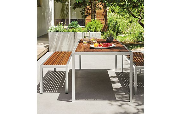 Montego Dining Table & Benches in Stainless Steel