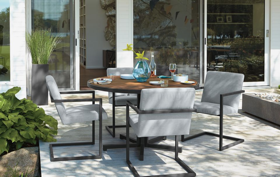 Detail of Montego outdoor table in graphite
