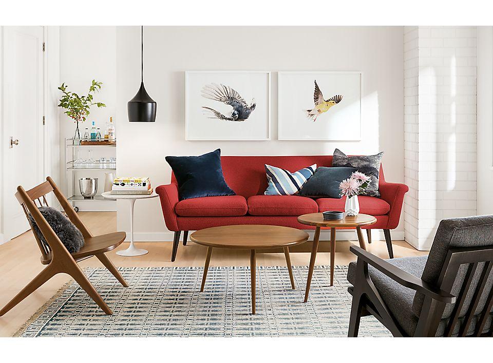 Detail of Murphy sofa in poppy