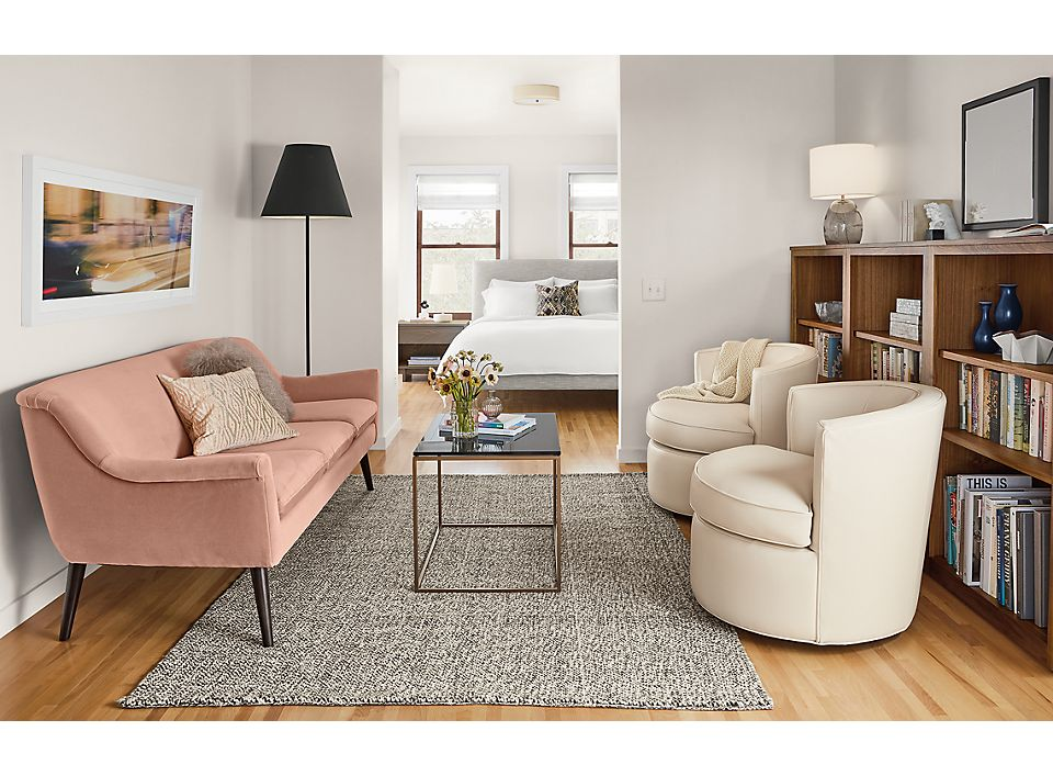 Murphy pink velvet sofa in small space