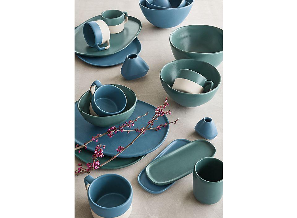 Detail of Nadia mugs, bowls, trays, bud vases in white, denim, teal