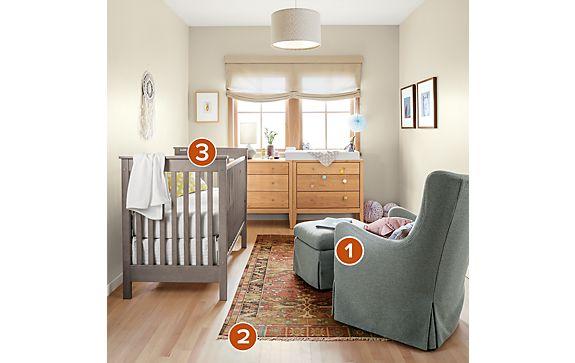 Nest Crib and Ellery Glider Nursery