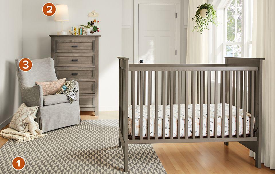 Modern Nest crib in shell stain