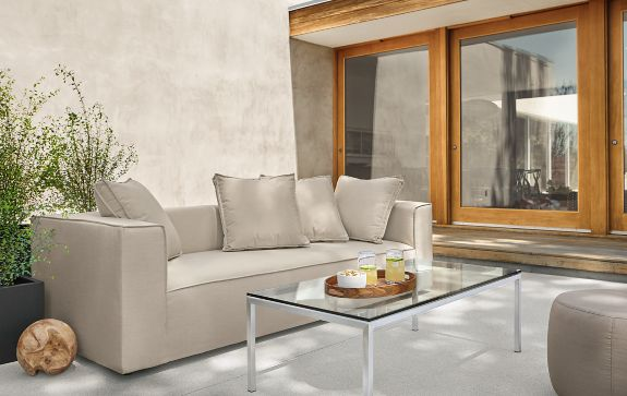 oasis sofa with portica cocktail table - modern outdoor furniture