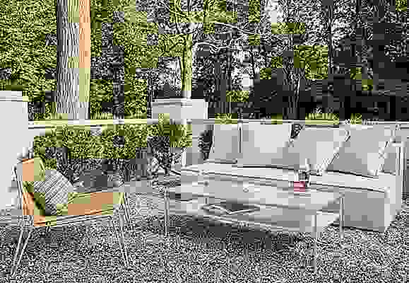Detail of Oasis outdoor sofa in Mist grey fabric with Slim outdoor coffee table