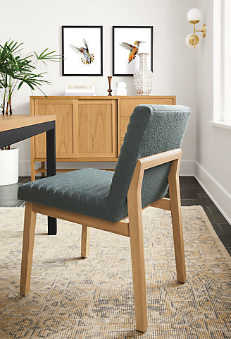 Dining room with Olsen side chair in Declan haze