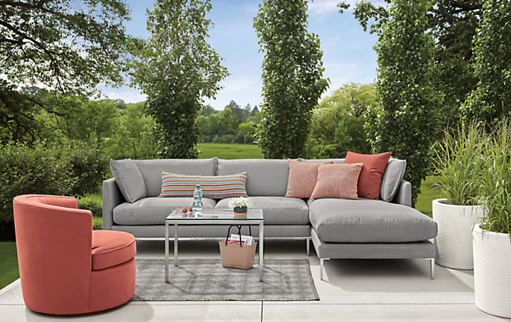 Detail of Palm outdoor sofa and Ambrose outdoor chair