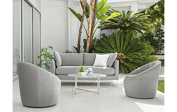 Palm Sofa with Crest Swivel Chairs