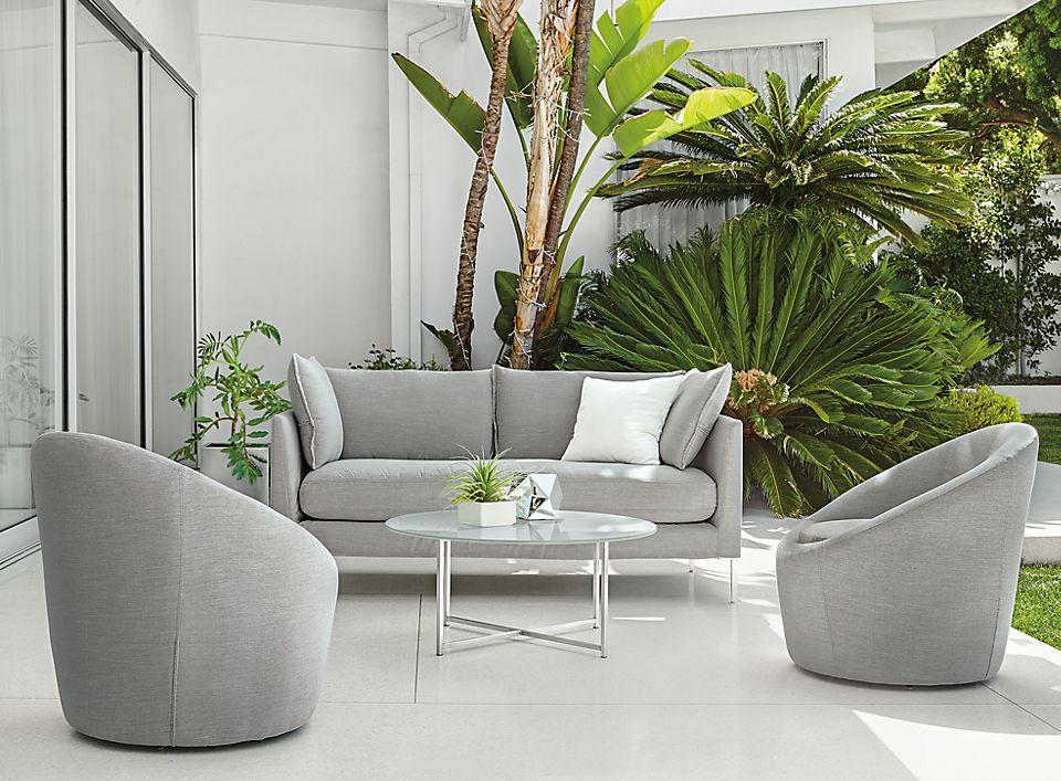 Detail of Palm bench-cushion sofa