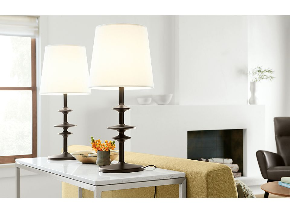 Detail of Parks table lamp with charcoal stain