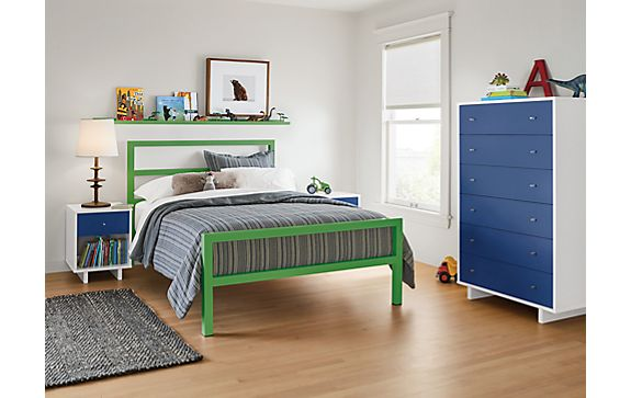 Parsons Bed in Green with Moda Dresser - Modern Kids Furniture ...