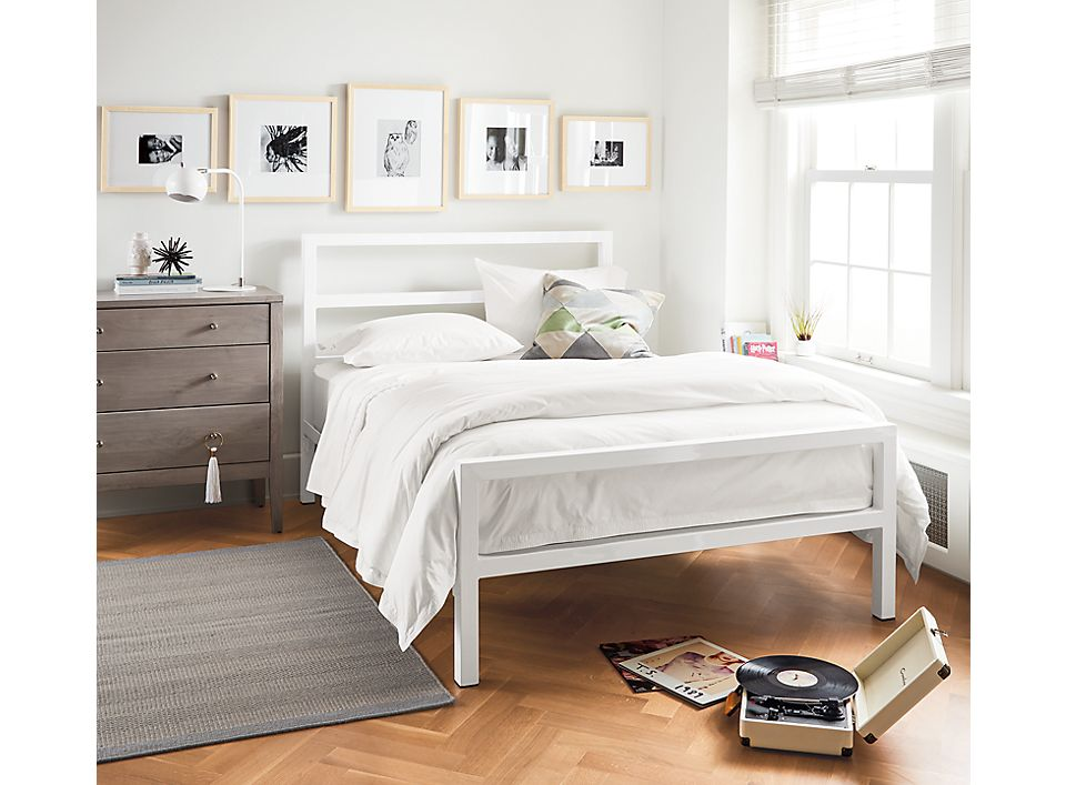 Detail of Parsons full standard bed in white