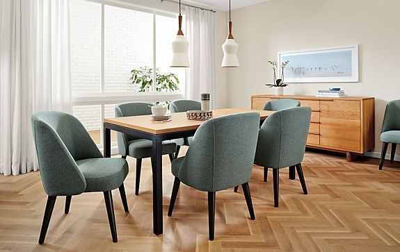 Cora Chairs In Teal With Parsons Extension Table