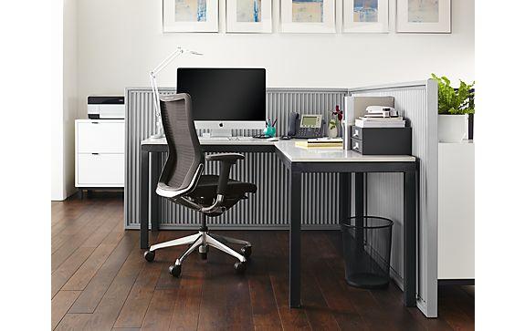 Parsons L-Shaped Desk Office Space