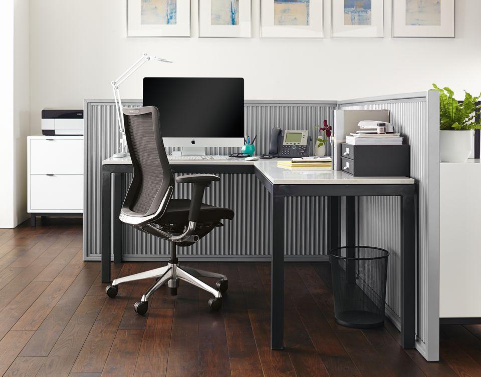 Side detail of Parsons l-shaped desk